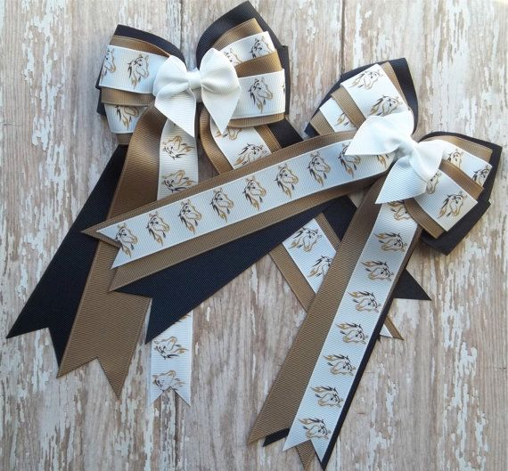 Pony Kid English Horse Show Hair Bows  Horse by TheYoungEquestrian, $22.00