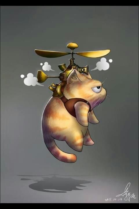 Gracie and Haimi with some sort of propellers?    Steampunk flying kitty Cat [Drawing] #Steampunk #cat