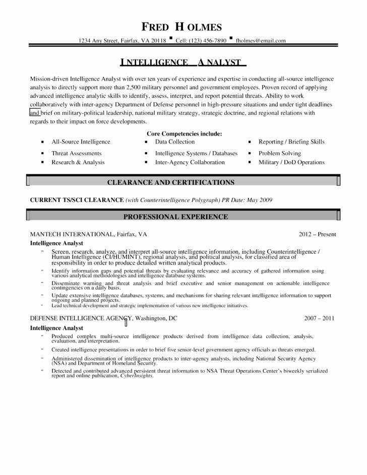 Military Resume Template Microsoft Word Lovely Bination Intelligence Analyst Resume Template In 2020 Resume Template Sample Resume Resume