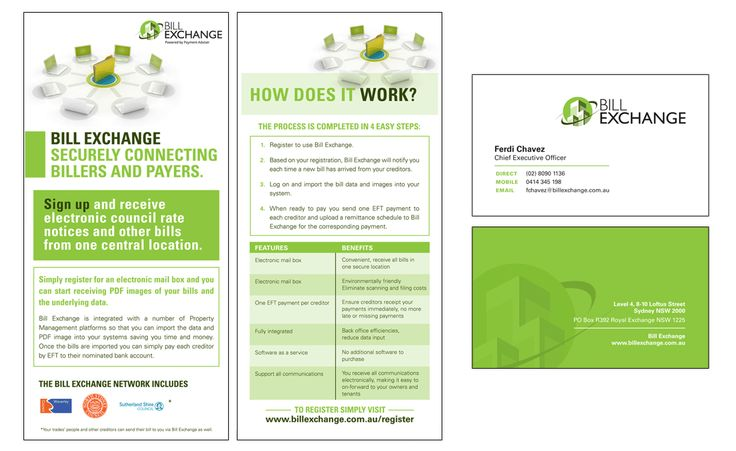 Bill Exchange DL Brochures and Business Cards Creative Clarity