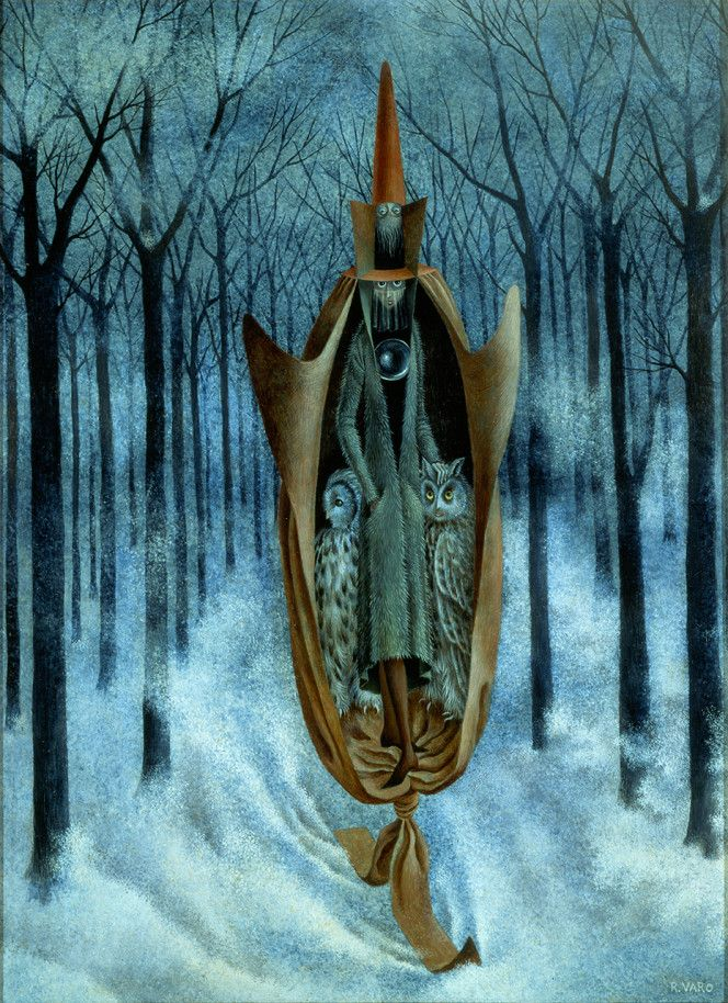 1960 ESQUIADOR, Remedios Varo Uranga (1908~1963, Spanish-Catalan born Mexican para-surrealist painter and anarchist)