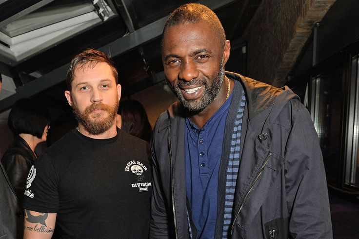 Friends Tom Hardy and Idris Elba reunited for the launch of the brand new Triumph motorbike. The A-list stars, who worked together on Guy Ritchie's RocknRolla back in 2008, caught up at The Bike Shed Motorcycle Club in East London on Wednesday night.