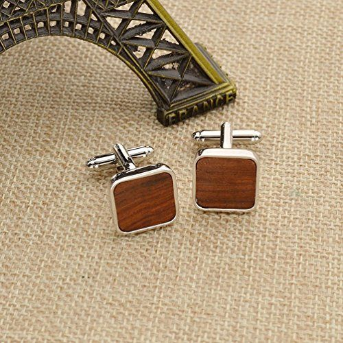Amazon.com: Rosewood Square Cufflinks Fashion Mashup Brass Cuff Link Wedding Collection Gfit 1 Pair: Jewelry
