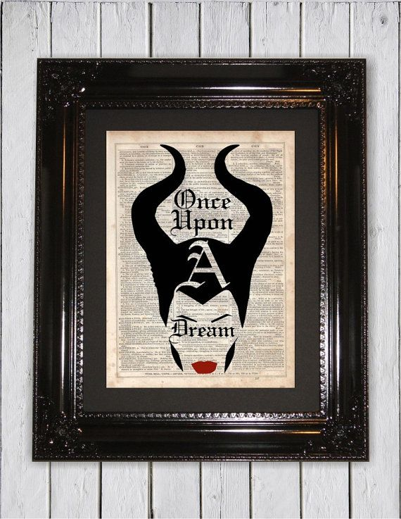 Once Upon A Dream Maleficent Quote, Dictionary Art Print, Upcycled Book Art, Silhouette, dictionary page Wall Decor, Wall Hanging