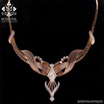 Antique Retro 18K Gold Platinum Diamond Necklace | eBay