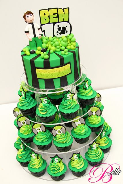 @Maren Pederson Johnson  Ben 10 Cupcake tower