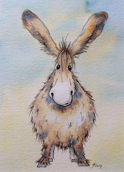 Small Donkey original watercolour painting