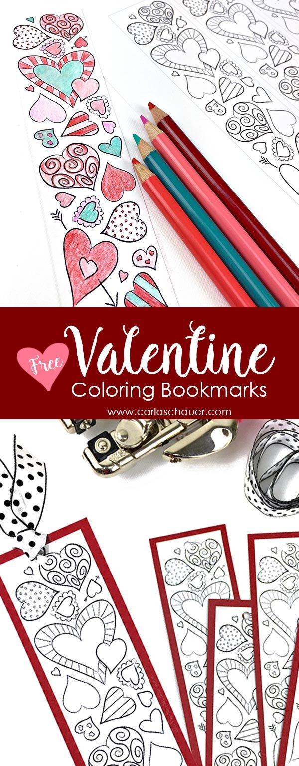 These would be so cute as February book club handouts!  Adorable free printable Valentine bookmark. Super cute non-candy Valentine. | Carla Schauer Studio at carlaschauer.com