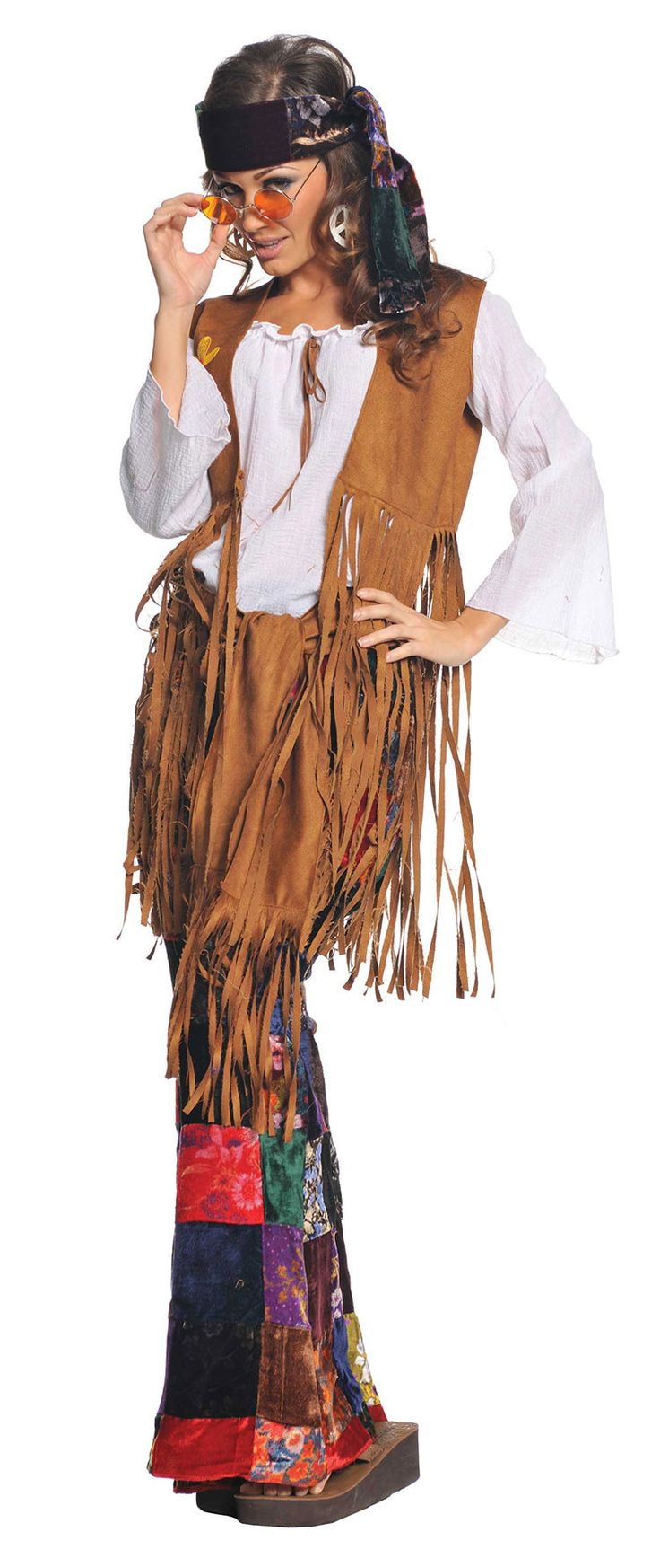 #29284 Spread peace and love this Halloween as the Peace Out Hippie. The Peace Out Hippie Costume includes a brown faux suede vest with long fringe, a white shirt with neck tie and velvet patchwork pr