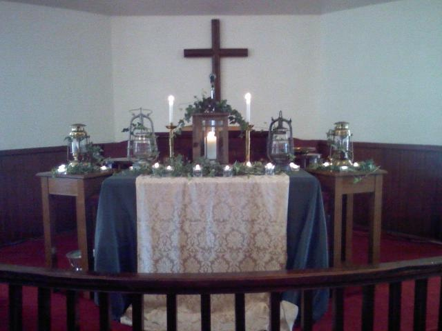 Part Of The Sermon Series On I Am Sayings Jesus This Altar Table Display Reflects Light Note Way White Cloth Pours Out Like
