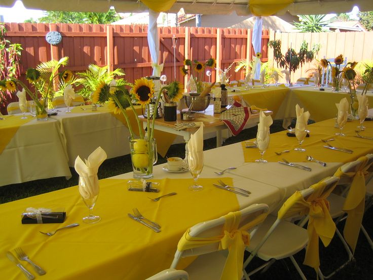 yellow decorations for a party | sunflower-formal-party-with-yellow-tablecloths