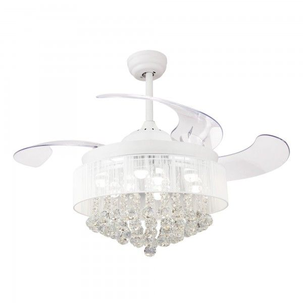 46 Broxburne Modern Crystal Retractable Ceiling Fan With Led Lights And Remote Control White Chandelier Fan Ceiling Fan Crystal Ceiling Fan Chandelier