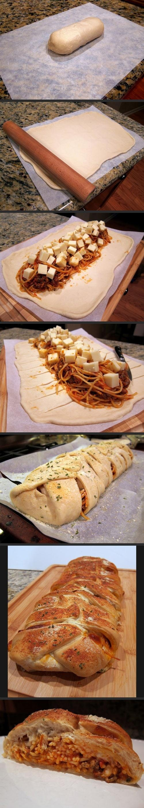Spaghetti bread 1	loaf bread dough, thawed or roll-out pizza dough 6 oz	spaghetti, cooked 1 c	thick spaghetti sauce (i use one with sausage in it already) 8 oz	mozzarella cheese 1	egg white parmesan cheese parsley flakes garlic powder Bake 450 30-35 min