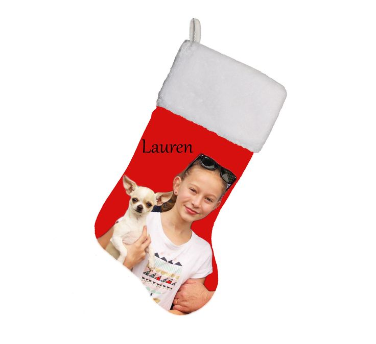 Personalized Photo-Christmas stocking. Your photo and name on the stocking. Also great for your baby's first Christmas