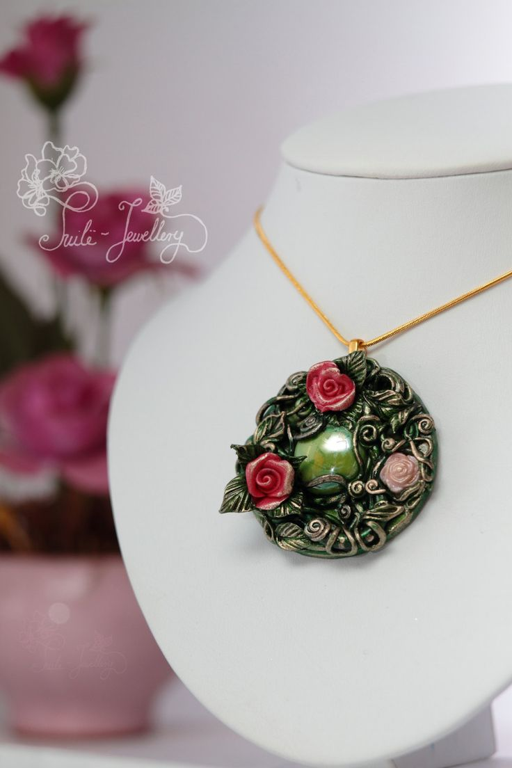 The Queen's Roses by Tuilejewellery on Etsy  #Jewelry  #Necklaces  #Pendants  #flourish  #amulet  #ornament  #gown  #roses  #floral  #shabbychic  #romantic  #bouquet #pink  #green  #large  #hungarianteam