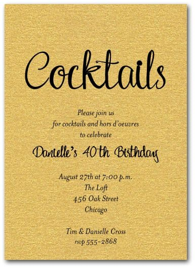 """Cocktails"" script on shimmery gold invitations come with matching shimmery envelopes, are a perfect choice for cocktail invitations, surprise birthday party invitations, retirement party invitations and more, just change the wording.  Actual Size: 5"" x 7"" Cocktails"