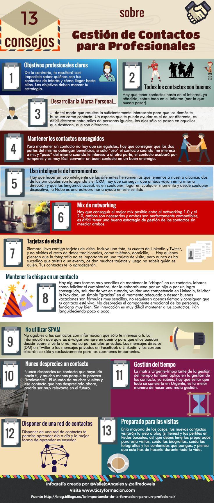 13 consejos sobre gestión de contactos para profesionales #infografia #marketing