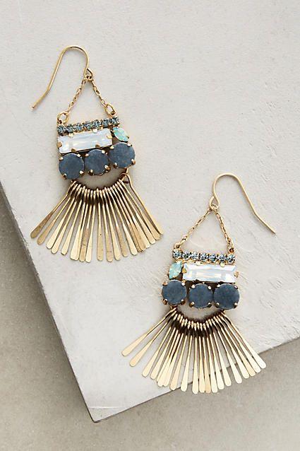 Meteor Shower Chandelier Earrings - anthropologie.com | dangling earrings | turquoise | hanging earrings | cut stones | unique