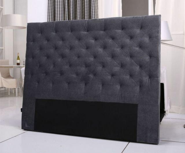 tete de lit capitonnee king 140/160cm velours gris