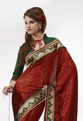 Dark Red Faux Crepe Jacqaurd Saree with Blouse