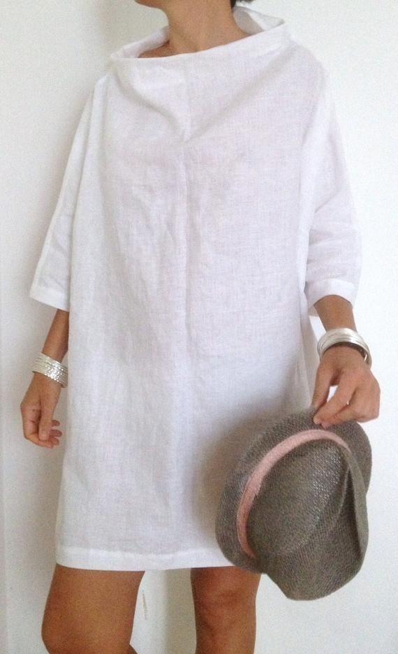 Gekleidet in weißem Leinen Tunika, Leinen-Tunika XXL-Maxi Tunika Damen Kleidung-weißes Kleid große Tunika Wasserfallausschnitt
