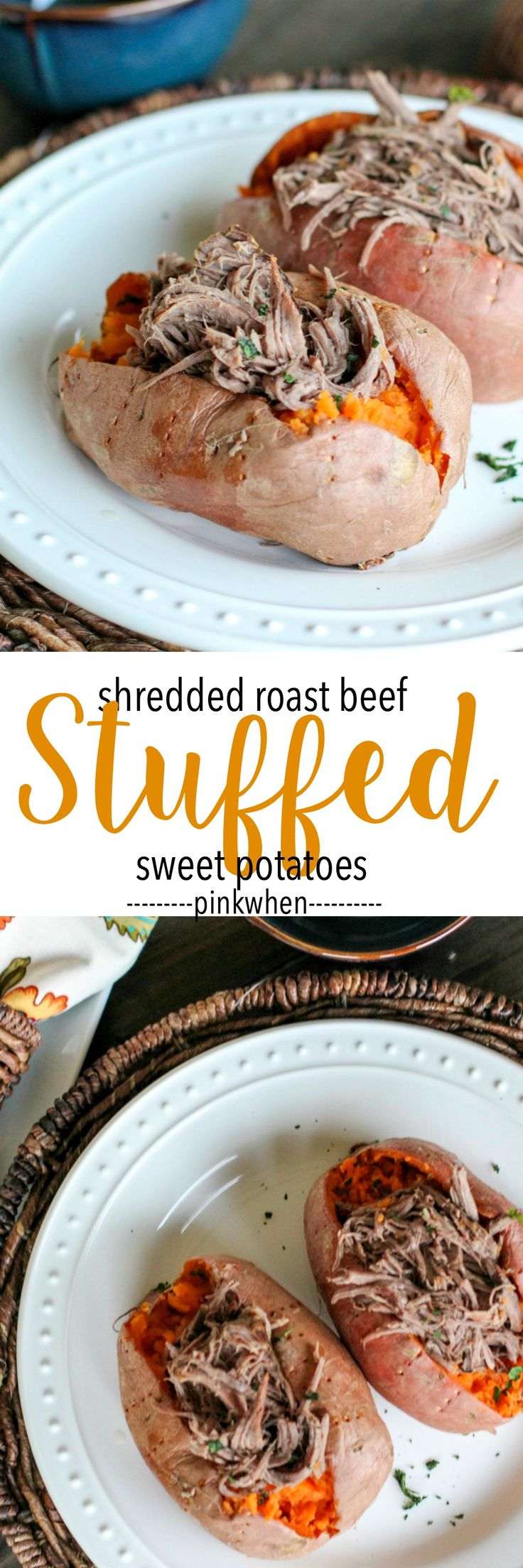 Shredded Roast Beef Stuffed Sweet Potatoes - Whole 30, PALEO, Simple Fit Forty (All dishes from WorldMarket!) #WorldMarketTribe