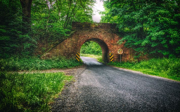 Download wallpapers Poland, 4k, road, forest, bridge, Europe