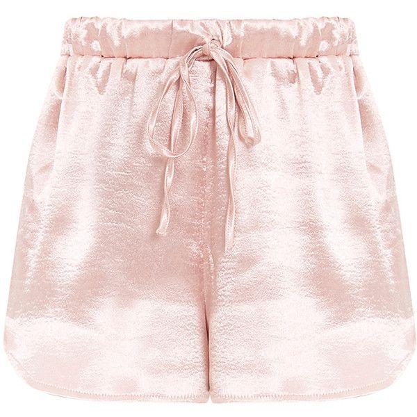 Mireyah Blush Satin Shorts ($35) ❤ liked on Polyvore featuring shorts, sport shorts, sports shorts and satin shorts