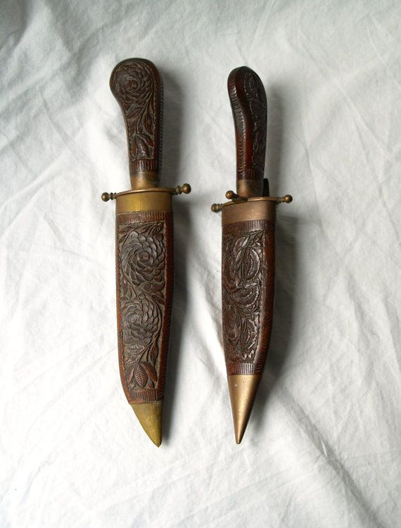East Indian Carved Knife and Fork Set-  These beautifully carved pieces have lovely, unique patterns covering them
