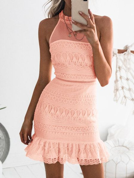 09a1bcff0 Mini vestido sin mangas transparente de encaje rosa brillante - US 27.95  -YOINS