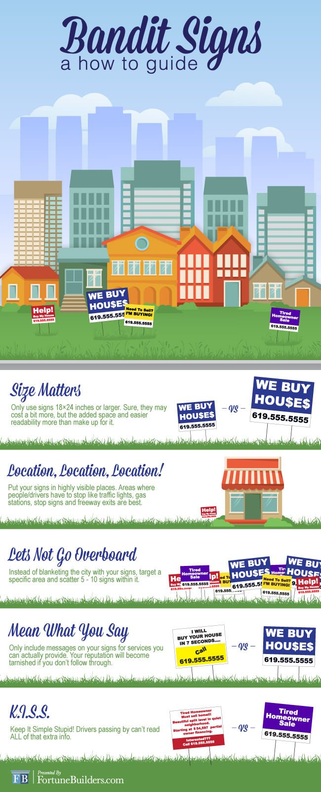 #Infographic: Bandit Signs: Quick Fixes For Common Problems - Read more here: http://www.fortunebuilders.com/real-estate-articles/bandit-signs-quick-fixes-common-problems/ #RealEstate #Education