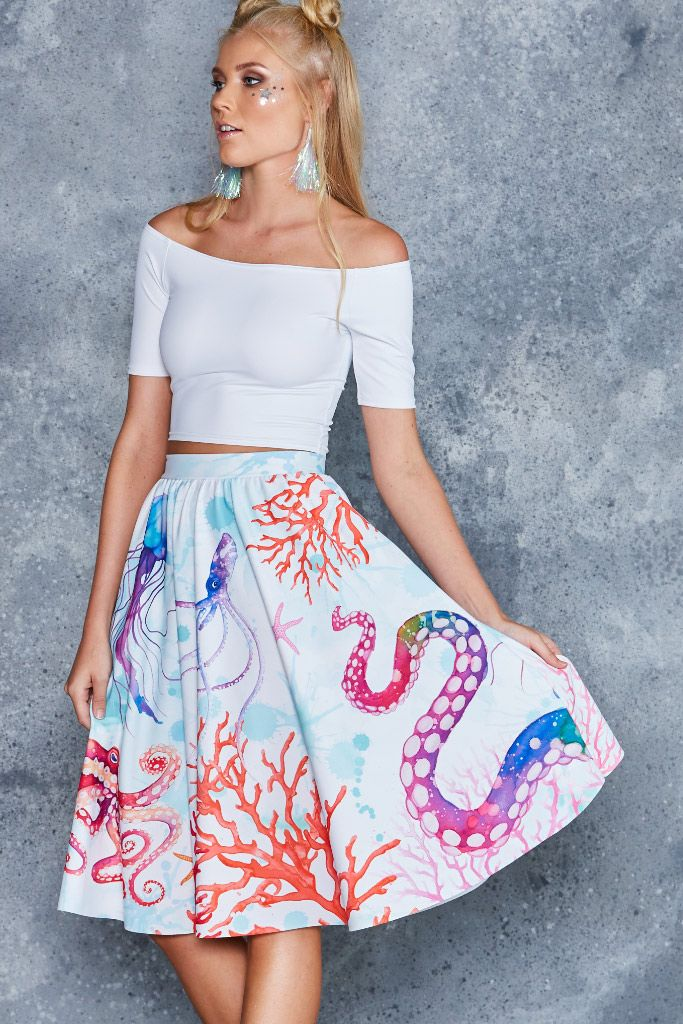 Octopus's Garden White Pocket Midi Skirt - 48HR ($110AUD) by BlackMilk Clothing