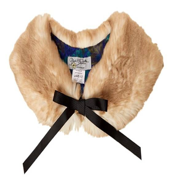 Faux Fur Collar with Blue Baroque Lining By Blanche in the Brambles