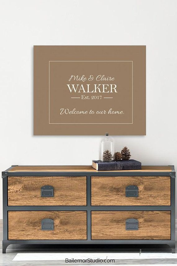 Personalized Family Name Sign, Anniversary Gift for Wife