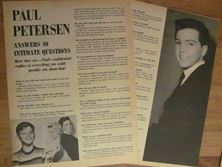 Paul Petersen, Two Page Vintage Clipping