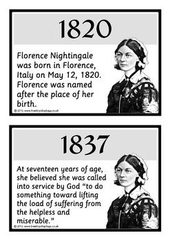 A set of 18 printable fact cards that reveal a timeline of the life of Florence Nightingale. Color coordinated in gray-scale, this set is very informative and explains all the major events and achievements that occurred in her life! Visit our TpT store for more information and for other classroom display resources by clicking on the provided links.