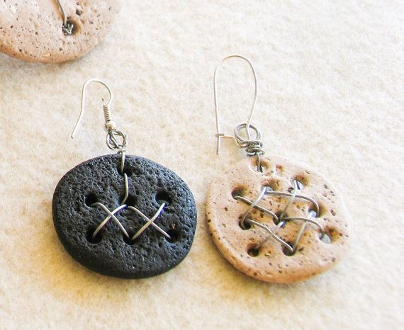 Black and Beige Metal Stitched Earring Stone by totalhandmadeD, $15.00