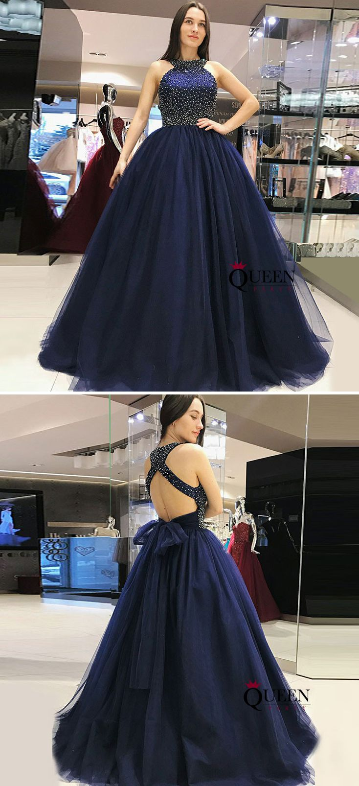 Brilliant Navy Blue Racer Neck Beading A Line Tulle Ball Gown Prom Dress From Queenparty Prom Dresses Ball Gown Ball Gowns Tulle Ball Gown