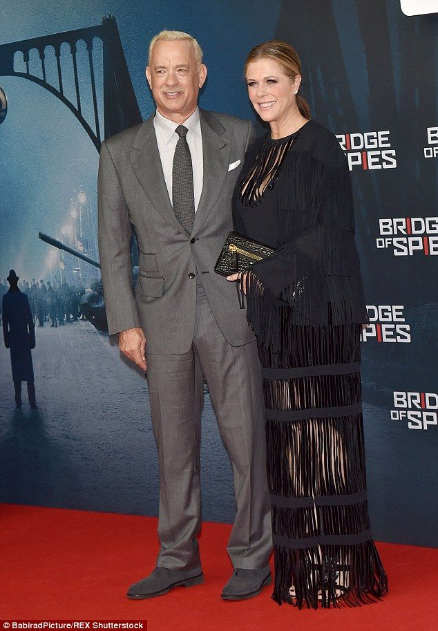 Talented pair: Tom Hanks hit Berlin for the red carpet premiere of his new film Bridge Of Spies on Friday, where he was joined by his wife Rita Wilson