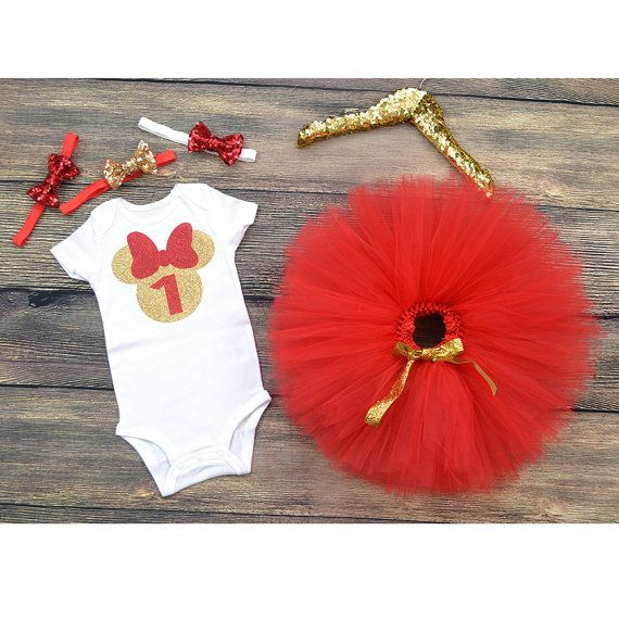 Minnie mouse 1st Birthday, Minnie Mouse first Birthday outfit, Red and Gold Minnie mouse, Minnie mouse party, cake smash