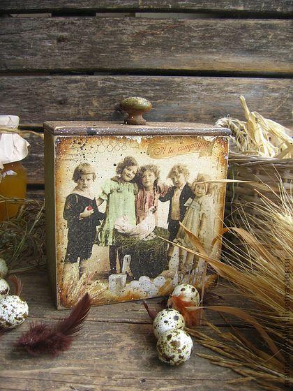 `Rеtro ferme`короб. Короб с  сюжетом - открыток начала ХХ века.