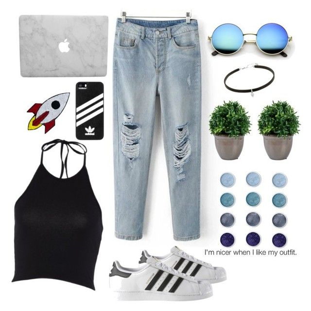"""Day Look 176 Tumblr Summer Spring 2016 Boyfriend Jeans Outfit"" by fashion-by-katrine on Polyvore featuring adidas and Terre Mère"
