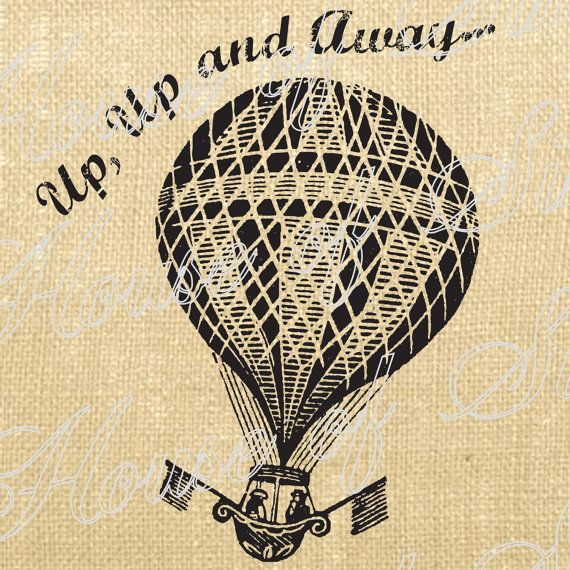 Hot Air Balloon Paris Flag Vintage Download Graphic Image Art Transfer burlap tote tea towels Pillow French Gift Tag Digital Sheet 1056
