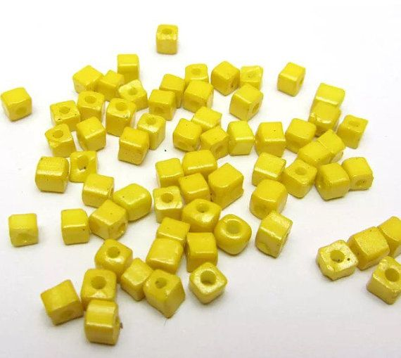 4mm Yellow Square Beads by Gracniotala on Etsy