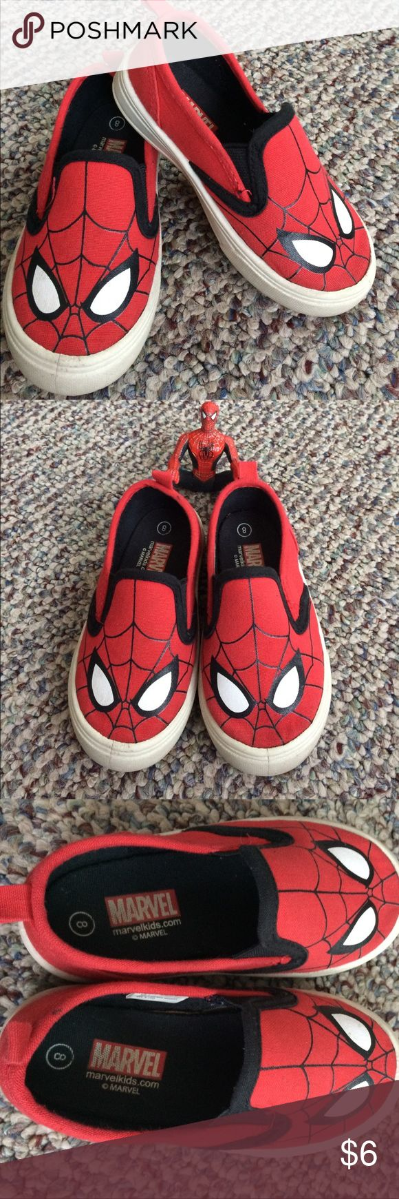 Spider-Man toddler size 8 slip on shoes Like new! Toddler boys size 8 slip on Spider-Man shoes Marvel Shoes