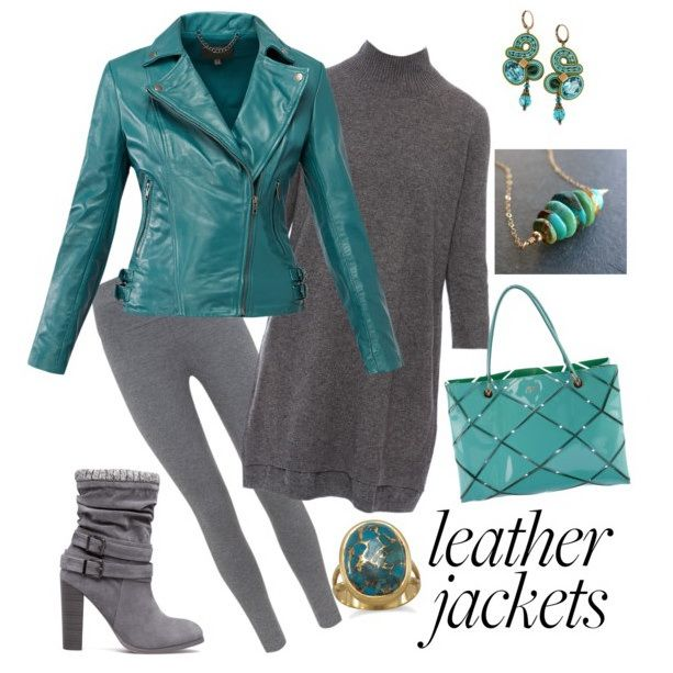This season make a statement with a bold hued leather jacket and a pair of Dori's earrings!   #doricsengeri #turquoise #leatherjacket #falltrends #fallcolors #designerearrings #luxeearrings
