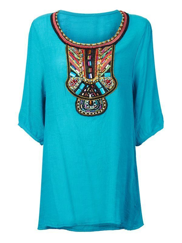 Ethnic Boho Embroidery Beaded Half Sleeve Cotton Women Blouse Woman