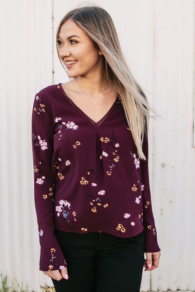 52166b2d625 Women's Floral Print Wine Maroon Bell Sleeve Blouse with V-Neck Neckline Boho  Tops Women's Trending Winter Fashion Cute Tops Cute Long Sleeve Floral Tops
