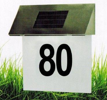 LED Solarleuchte Hausnummerbeleuchtung Edelstahl mit 4 LED's