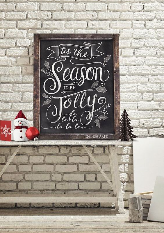 We love this Christmas-inspired chalkboard art for the holiday season. The perfect Holiday decoration to tie a room together!